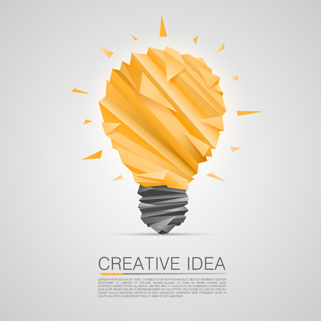 bulb light: Creative idea of origami lamp. vector illustration