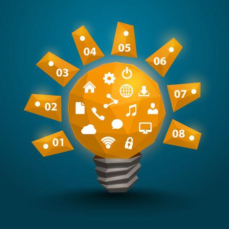 hause: Lamp polygonal 3d idea art. Vector illustration
