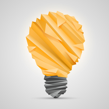 wastepaper: Creative idea of origami lamp. vector illustration
