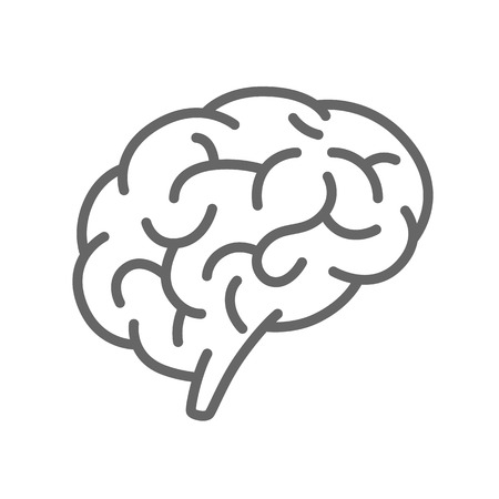 Silhouette of the brain on a white background. Vector illustration 矢量图像