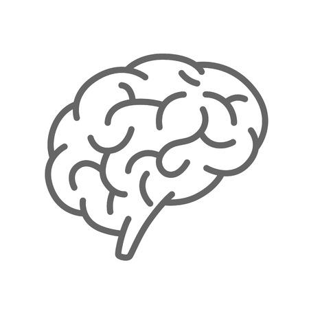 cerebro blanco y negro: Silueta del cerebro en un fondo blanco. Ilustración vectorial