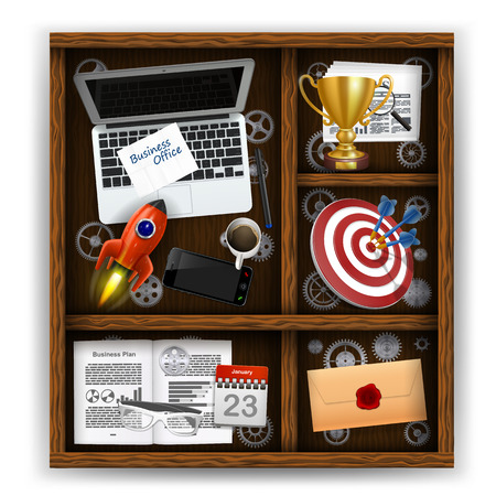 regiment: Wooden box with items of business office. Vector illustration Illustration