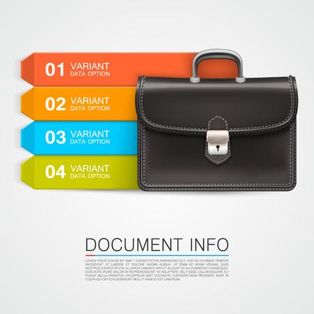 satchel: Gray bag business info art . Vector illustration Illustration