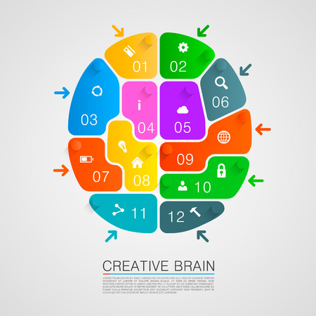 Brain of puzzles with workers. Vector illustration Vector
