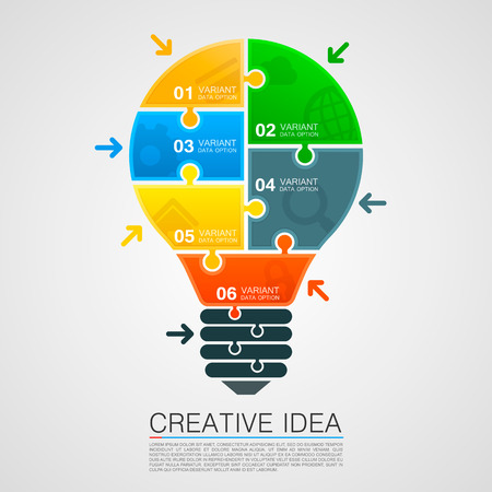 Bulb idea of working with puzzles. Vector illustration