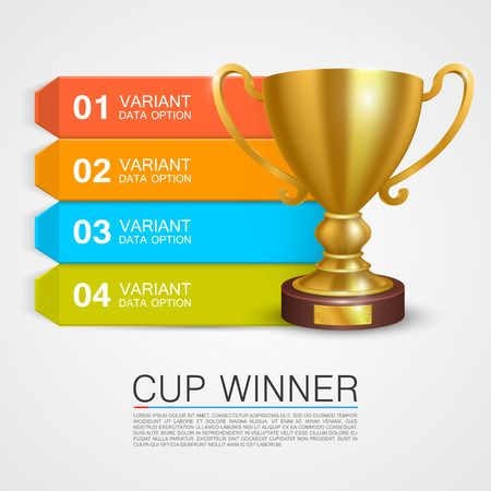 trophy winner: Graphic information Winner cup art. Vector illustration