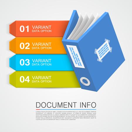 documentation: Document info art tape color. Vector Illustration