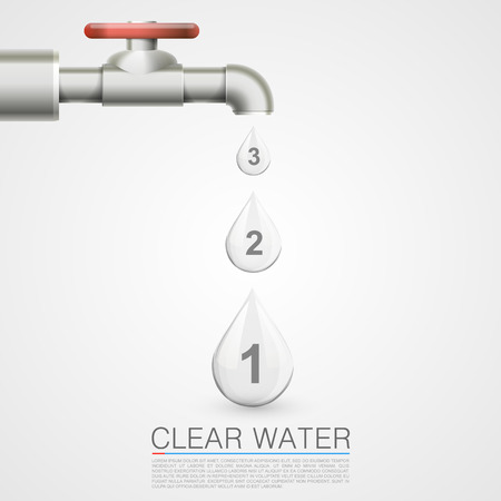 Tap with water drops info. Vector illustration 向量圖像