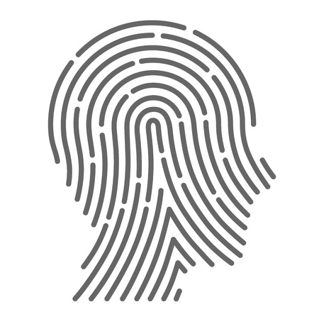 fingers: Cabeza de huellas digitales símbolo del arte creativo. Ilustración vectorial Vectores