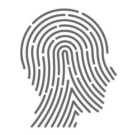 Symbool vingerafdruk hoofd zijt creatief. Vector illustratie Stock Illustratie