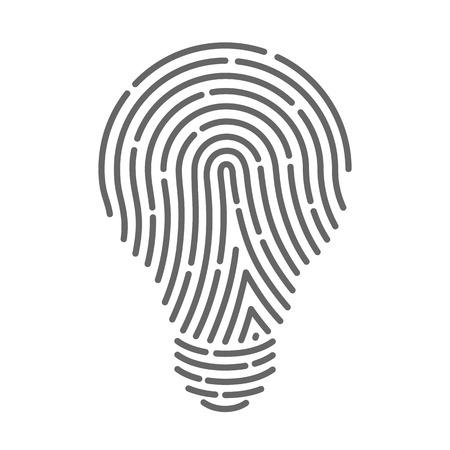 lamp silhouette: Symbol fingerprint as light bulbs. Vector illustration