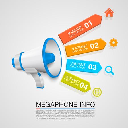 speaking tube: Megaphone info art tape color. Vector illustration Illustration