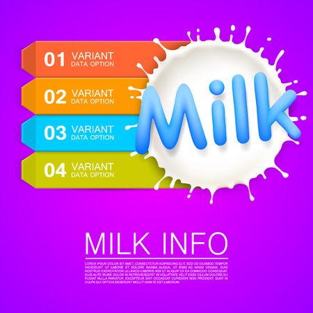 Label milk info art banner. Vector illustration Illustration