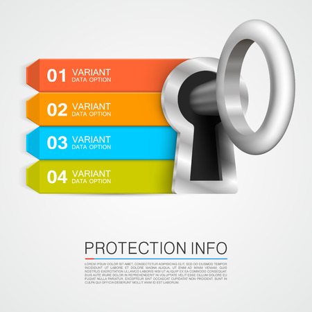 door key: Protection info art key banner. Vector illustration