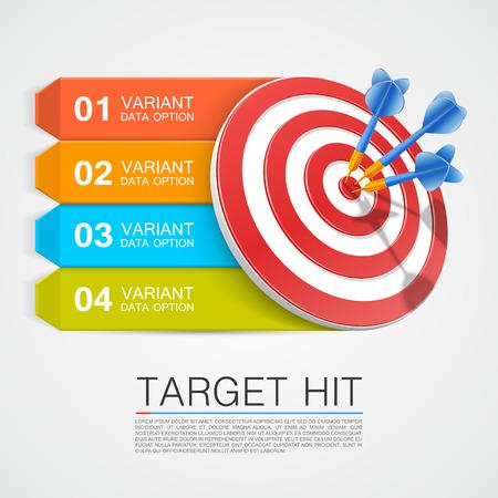 Objetivo Información gráfica con dardos. Ilustración vectorial