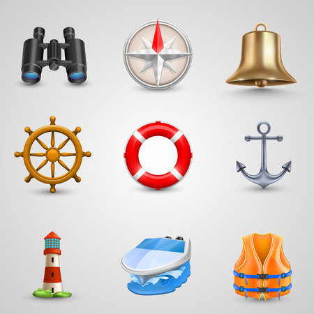Marine set icons art object. Vector illustration Vector