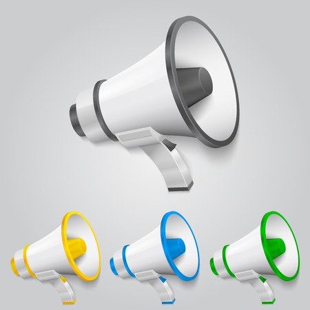 Set megaphone color art object. Vector illustration