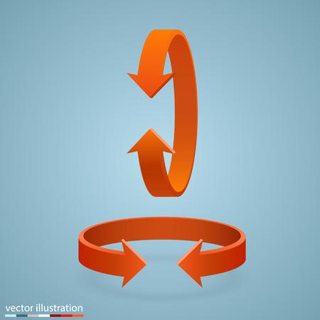 Arrow rotation 3d art info. Vector illustration