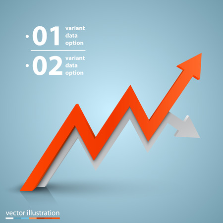sales growth: Arrows business growth art info. Vector illustration