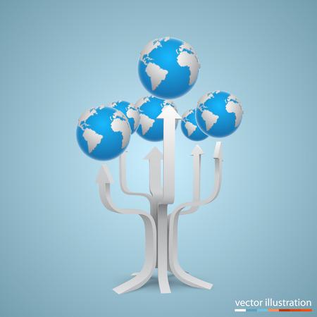 Tree with arrows earth art. Vector illustration Vector