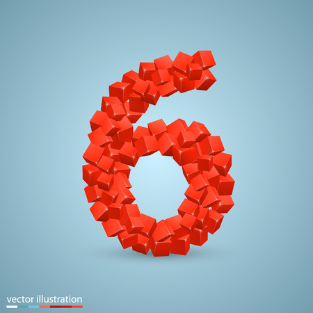 number three: Cubes as a symbol font. Vector illustration