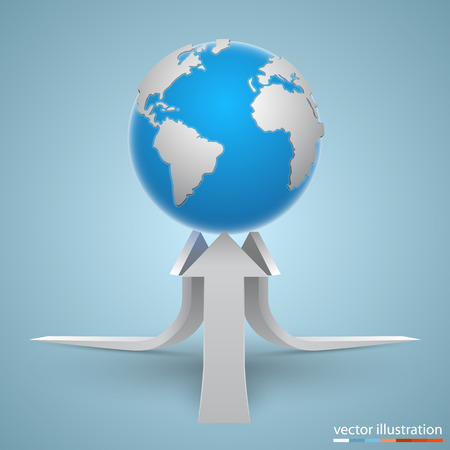 land development: Arrows on the planet art. Vector illustration