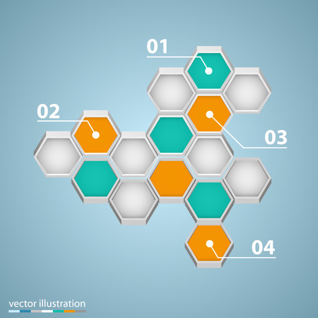 comb out: Info graphic design with hexagons art. Illustration