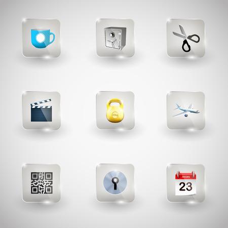 glass button: Website Internet Icons. Transparent Glass Button.