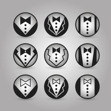 icone tonde: Icone rotonde giacca arte. Vettoriali