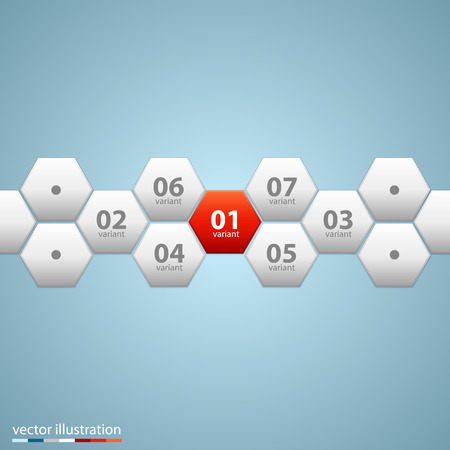 comb out: Infographic design with hexagons art. Illustration