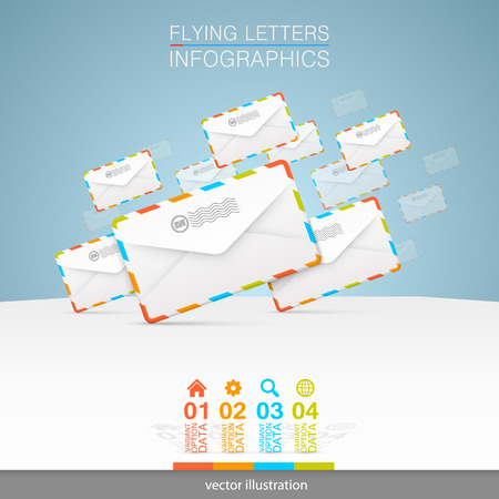 mail box: Letters on a white background.