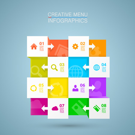 Square menu icons for infographic art.