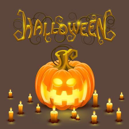 pumpkin face: Cover Halloween pumpkin with a face.