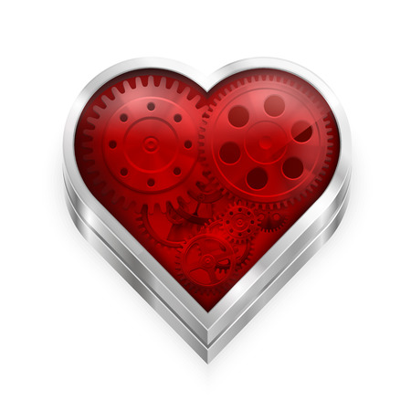 cogs and gears: Heart with gears art sign.