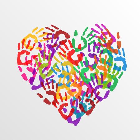 Heart hand prints art sign color. Vector Illustration