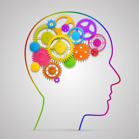 Głowa z zębatką w sztuce mózgu. Ilustracji wektorowych