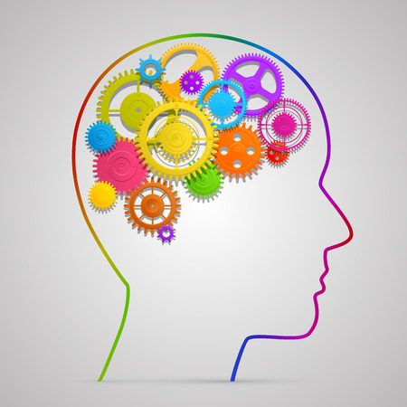 head gear: Head with gears in brain art. Vector illustration