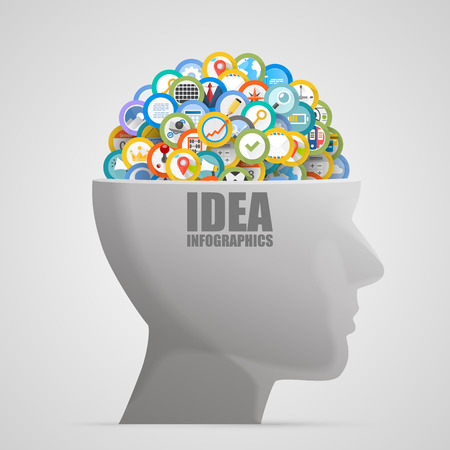 multiple image: Head with icons in the brain. Vector illustration Illustration