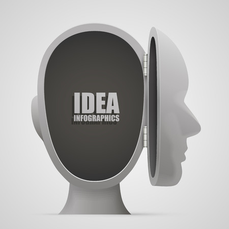 emptiness: Emptiness in the open head. Vector illustration Illustration