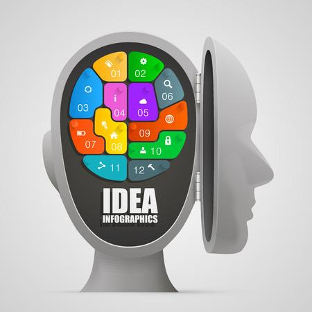 Puzzle cerebral en una cabeza abierta. Ilustración vectorial