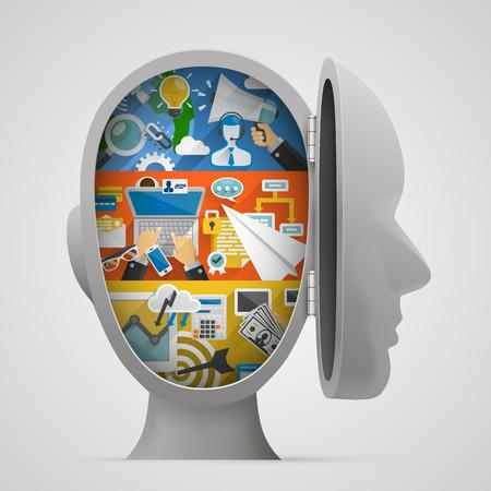 psicologia: Conjunto de banderas con los iconos planos en la cabeza abierta. Ilustración vectorial Vectores
