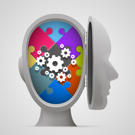 Puzzle and gears in the open head. Vector illustration
