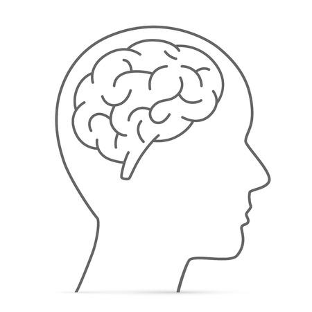 脳とシルエットの頭。ベクトル図  イラスト・ベクター素材