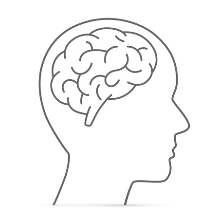 Silhouette Kopf mit dem Gehirn. Vektor-Illustration Standard-Bild - 36275590