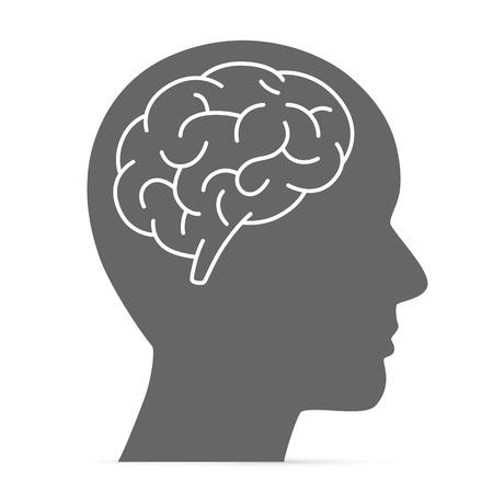 cerebro blanco y negro: Silueta de la cabeza con el cerebro. Ilustración vectorial