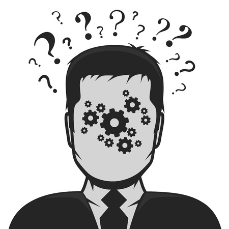 anonymity: Male profile avatar solution to the problem. Vector illustration