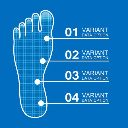 forensic: Foot prints info art leg. Vector illustration