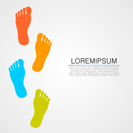 feet: Foot prints info art leg. Vector illustration