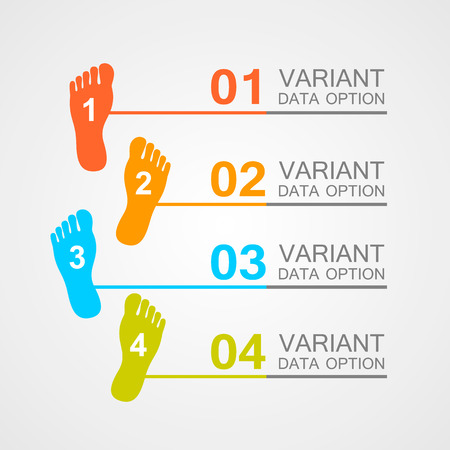 toe: Foot prints info art leg. Vector illustration