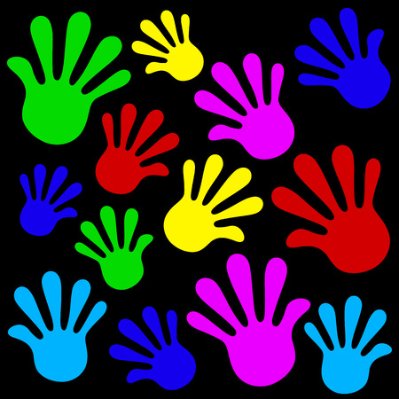 fingerprinted: Handprints background icon set color. Vector illustration Illustration